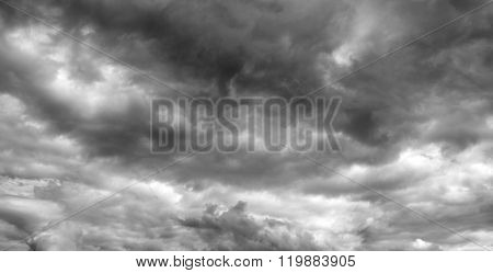 Thunderclouds over horizon, panorama.