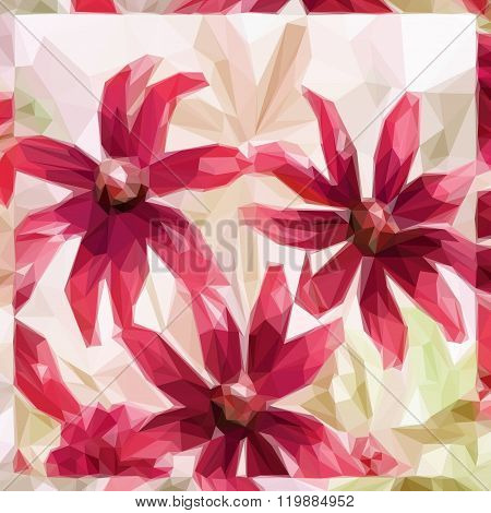 Flowers, Low Poly Pattern