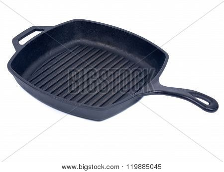 Iron skillet isolated on white background