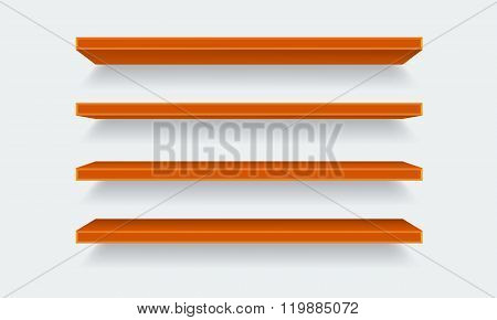 Vector orange Empty Shelf Shelves Isolated on Wall Background