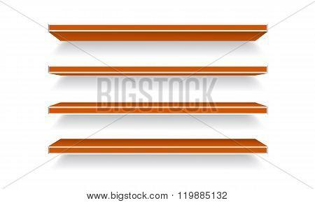 Vector orange Empty Shelf Shelves Isolated on Wall Background