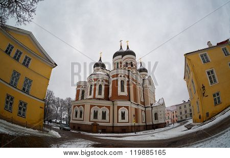 Cathedral Of Alexander Nevsky In Tallinn, Estonia; Fisheye;