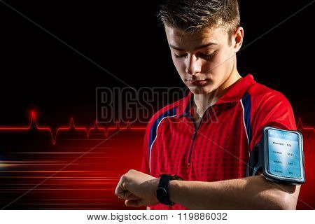 Teen Doing Fitness Analysis On Smart Watch.
