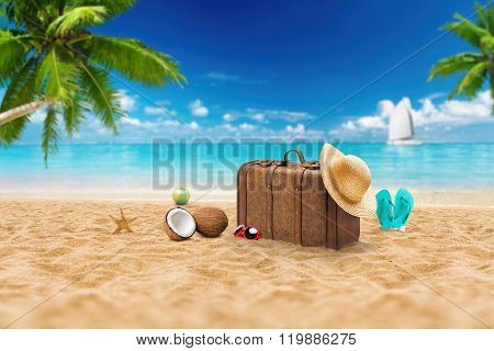 Travel Holiday Vacation Suitcase With Sunglasses, Starfish, Straw Hat And Beach Slippers On The Beau