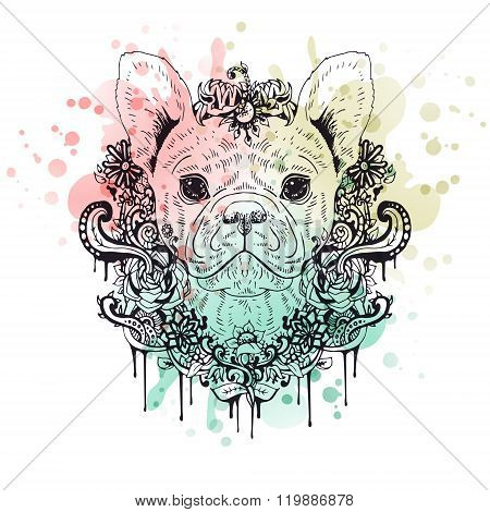 Black and white animal Dog head, abstract art, tattoo, doodle sketch.