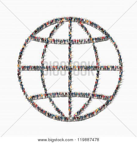 people  shape globe icon
