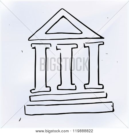 The Three Pillars Of The Building, Doodle Illustration