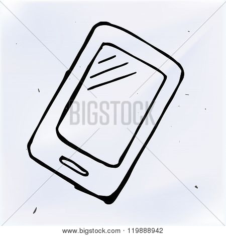 Vector Doodle Phone With Touchscreen Display