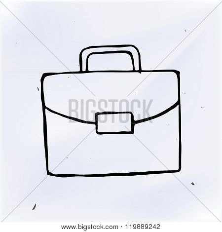 Vector Suitcase Doodle Drawing, Sketch Of The Suitcase On White Background