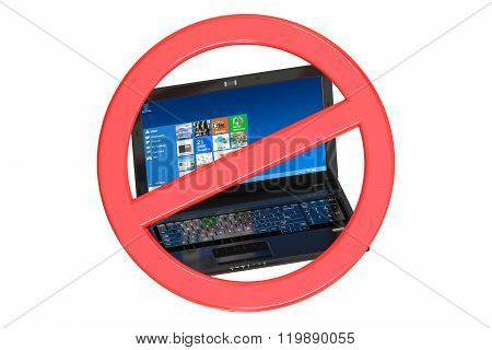 No Laptop Prohibition Sign