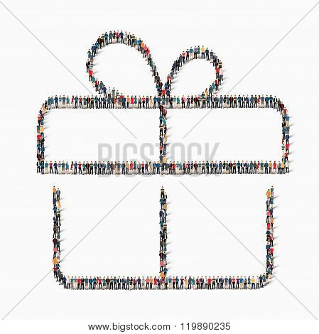 group  people  shape  gift vector
