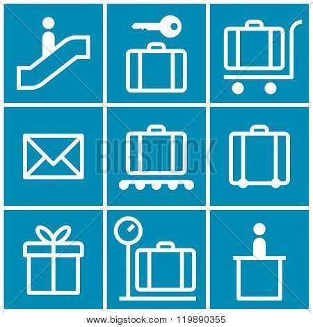 Travel Icons Set On Blue Background