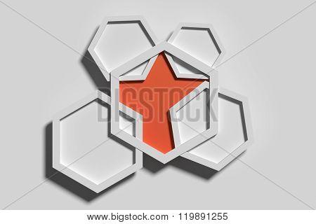 Five Three-dimensional Pentagons Casting Shadow