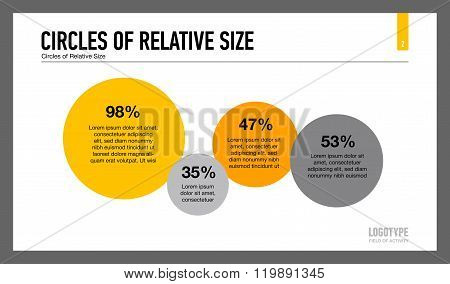 Circles of relative size slide template