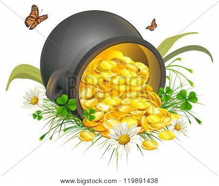 Overturned pot of gold coins. Cauldron of gold