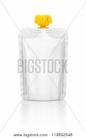 Blank Packaging Squeeze Pouch Isolated On White Background