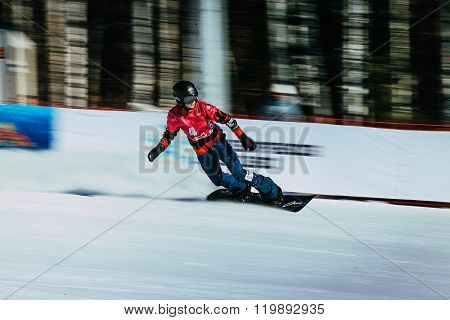 panning shot girl snowboarder athlete after finish