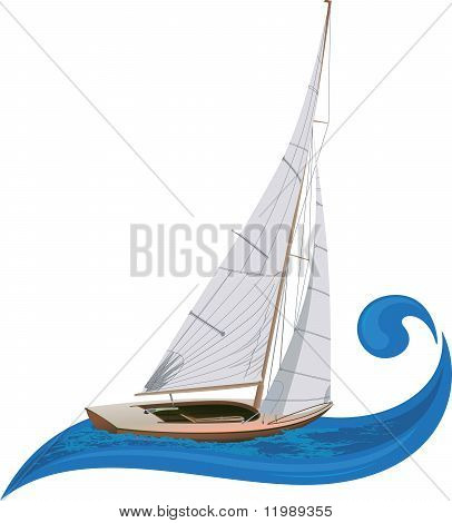 Sail boat the wave