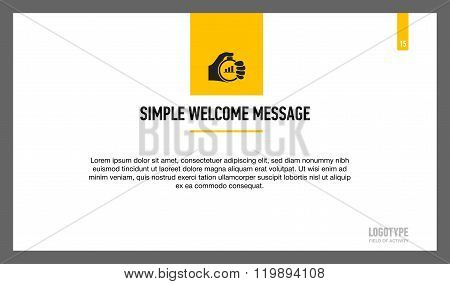 Simple welcome message slide template