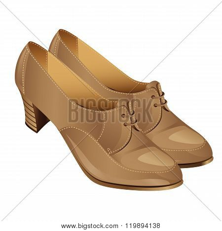 beige classic shoes with laces