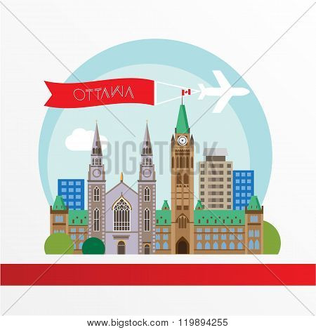 Ottawa detailed silhouette. Trendy vector illustration, flat style. Stylish colorful  landmarks. The concept for a web banner. Centre Block and the Peace Tower - The symbol of Ottawa, Canada