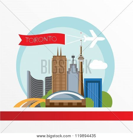 Toronto detailed silhouette. Trendy vector illustration, flat style.
