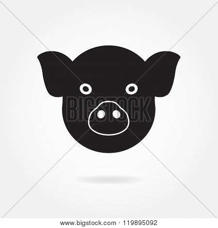 Pig head or face icon. Agriculture and farming concept. Vector illustration.