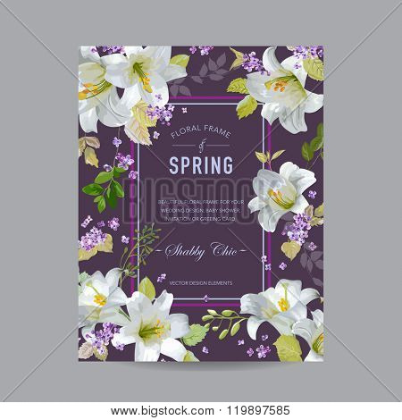 Vintage Lily Floral Colorful Frame - for Invitation, Wedding, Baby Shower Card - in vector