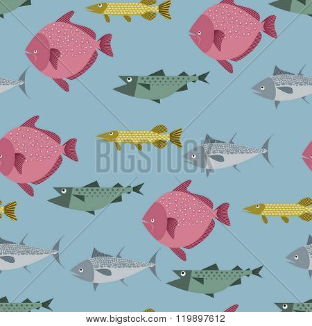 Seamless pattern with river and sea fishes