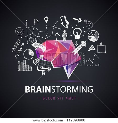 Vector creative logo, brainstorm, creating new ideas, teamwork illustration.