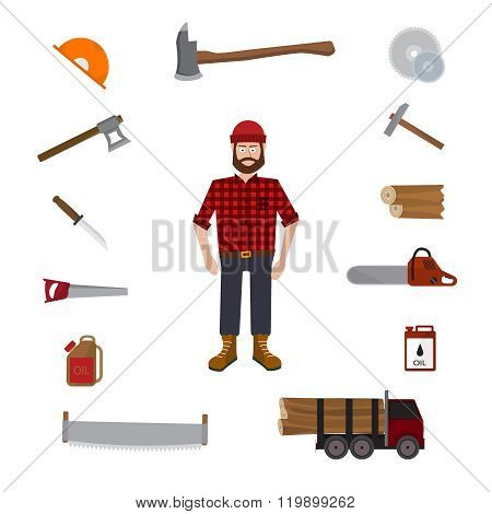 Lumberjack vector icon set.