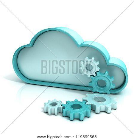 Cloud computing concept 3D