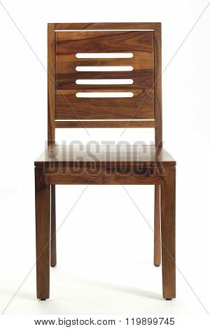Front View Of Natural Brown Wooden Chair