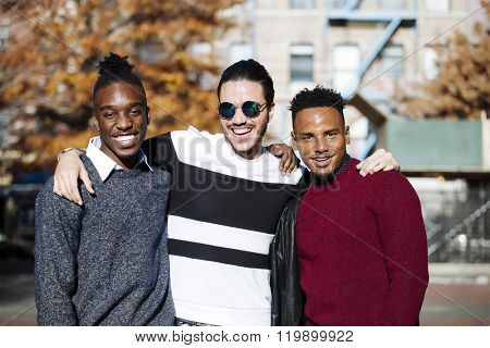 Three young men together in New York city