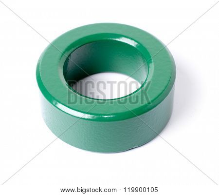 Ferrite toroidal core isolated on white background.