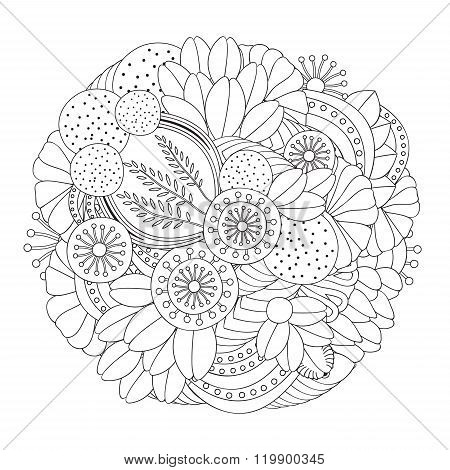 Stock Vector Doodle Floral Black And White Pattern. Orient.