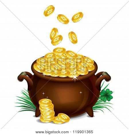 Pot Of Gold, Magical Treasure, St. Patrick's Day Symbol. Vector Illustration.