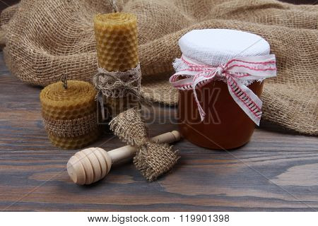 Rustic natural set with honey, dipper stick and handmade candles from beeswax
