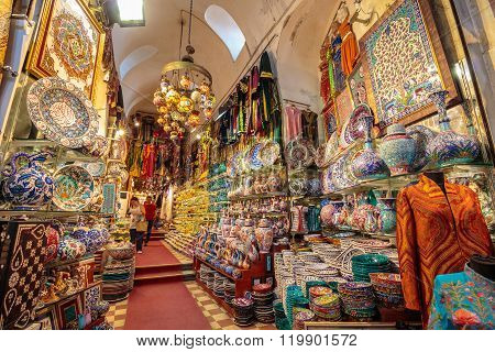Street Of The Grand Bazaar In Istanbul