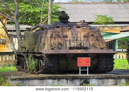 American tank, front view. The Museum of the city of Hue, Vietnam