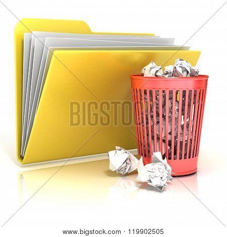 Full red recycle bin folder icon 3D