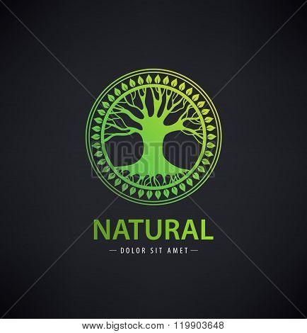 Vector circle eco logo, tree