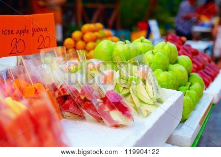 Colorful Tropical Fruits On Street Market
