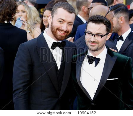 Sam Smith and Jimmy Napes at the 88th Annual Academy Awards held at the Hollywood & Highland Center in Hollywood, USA on February 28, 2016.
