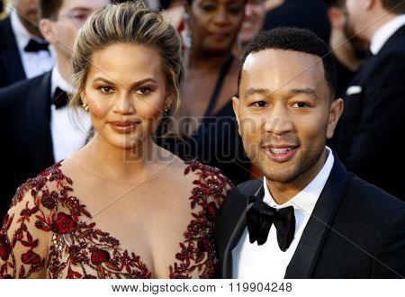 Chrissy Teigen and John Legend at the 88th Annual Academy Awards held at the Hollywood & Highland Center in Hollywood, USA on February 28, 2016.