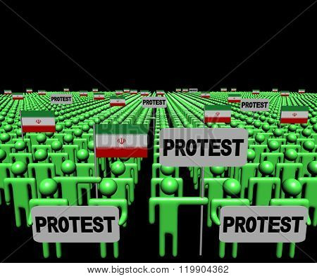 Crowd of people with protest signs and Iranian flags illustration