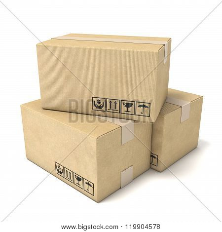 Stack of cardboard boxes. Global packages delivery concept 3D