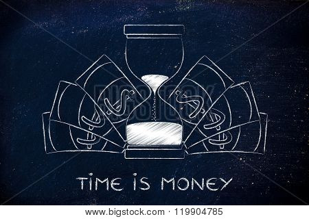 Hourglass Surrounded By Banknotes, Time Is Money