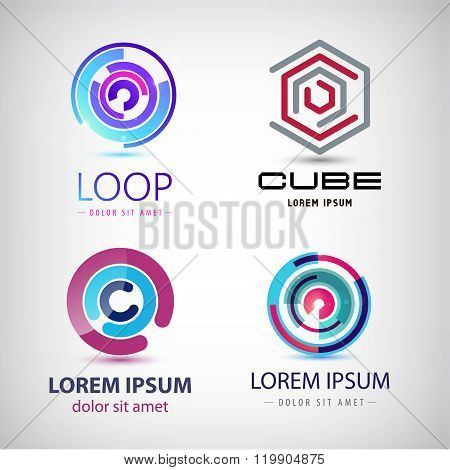 Vector set of abstract colorful loop logos, circle web