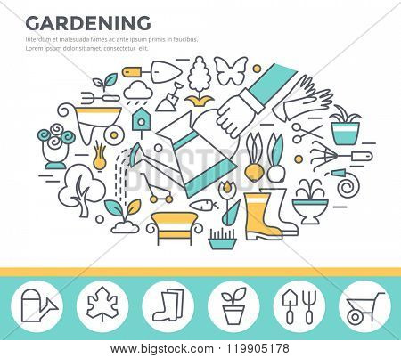 Gardening and horticulture concept illustration, thin line flat design